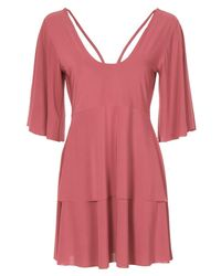 Boohoo - Pink Angel Sleeve Caged Back Skater Dress - Lyst