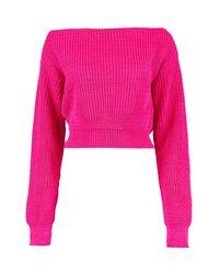 Boohoo - Pink Slash Neck Crop Fisherman Jumper - Lyst