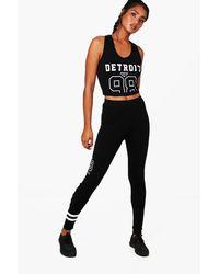 Boohoo - Black Amy Fit Detroit Jersey Sports Set - Lyst