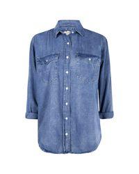 Boohoo - Blue Oversized Denim Shirt - Lyst