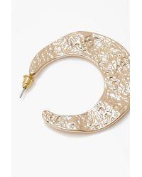 Boohoo - Metallic Hammered Plate Hoop Earrings - Lyst