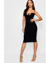 fdae42732607 Boohoo Cut Out Detail Midi Bodycon Dress in Black - Lyst