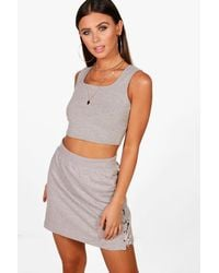 Boohoo - Gray Petite Keira Square Neck Crop Top - Lyst