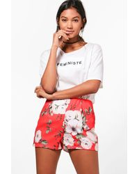 3d39c633a7a1 Boohoo Red Floral High Waisted Shorts in Red - Lyst