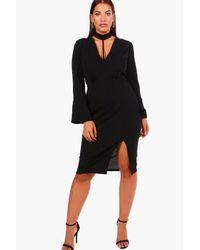 Boohoo - Black Plus Louise Choker Strap Detail Wrap Dress - Lyst