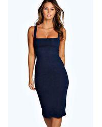 Boohoo - Blue Jen Square Neck Bodycon Midi Dress - Lyst