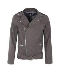 Boohoo - Gray Slate Faux Suede Biker Jacket for Men - Lyst
