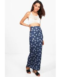 Boohoo - Blue Jazim Paisley Floral Maxi Skirt - Lyst