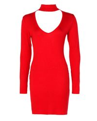 Boohoo - Red Deep Plunge Choker Bodycon Dress - Lyst
