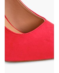 Boohoo - Red Lucy Pointed Toe Ankle Band Courts - Lyst