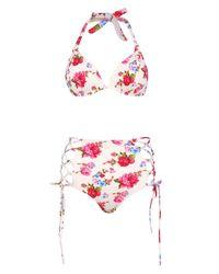 Boohoo - White Bora Bora Push Up Moulded Plunge High Waist Bikini - Lyst