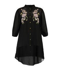 Boohoo - Black Plus Eva Embroidered Shirt Dress - Lyst