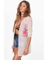 Boohoo   Pink Clara Embroidered Mesh Kimono   Lyst