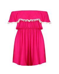 Boohoo Pink Plus Zoe Off The Shoulder Pom Pom Trim Dress