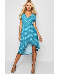 Boohoo Blue Francesca Polka Dot Wrap Midi Dress