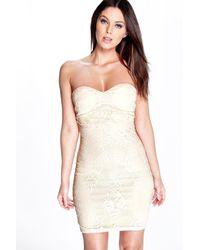 Boohoo - Natural Hazel Eyelash Lace Bandeau Bodycon Dress - Lyst