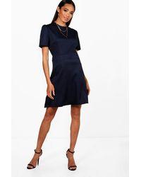 Boohoo Tailored Woven Skater Dress in Blue - Lyst 6ebe56e9e