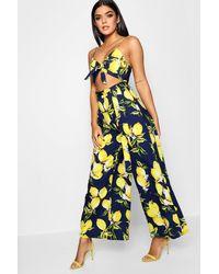 7c712461a383 Boohoo Lemon Print Tie Front Jumpsuit in Blue - Lyst