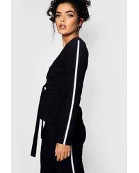 Boohoo - Black Sports Stripe Belted Trouser Co-ord Set - Lyst