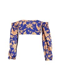 Boohoo - Blue Petite Bold Floral Balloon Sleeve Crop Top - Lyst