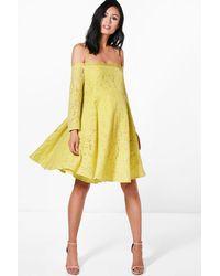 Boohoo - Yellow Maternity Eyelash Lace Off The Shoulder Skater Dress - Lyst