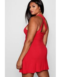 625bd0a3a2 Lyst - Boohoo Plus Cross Back Skater Dress in Red