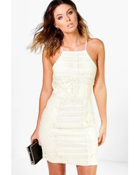Boohoo - Multicolor Louise Panelled Lace Bodycon Dress - Lyst
