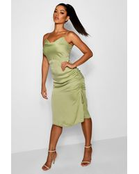 1a31b82f72a7e Boohoo Cowl Neck Midi Slip With Ruched Detail in Green - Lyst