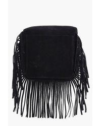 Boohoo - Black Laura Suedette Fringed Cross Body Bag - Lyst