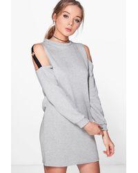 Boohoo - Gray Olivia O Ring Cold Shoulder Sweat Dress - Lyst