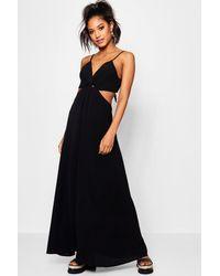 Boohoo - Black Knot Front Tie Back Maxi Dress - Lyst
