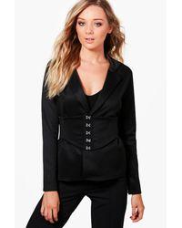 Boohoo - Black Kareena Corset Belt Tailored Blazer - Lyst