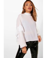 217150cad4c Boohoo Ruffle Sleeve Tie Neck Blouse in White - Lyst