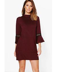 Boohoo | Red Morris Crochet Trim Flute Sleeve Shift Dress | Lyst