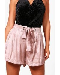 Boohoo - Black Petite Eyelet Tie Luxe Woven Shorts - Lyst