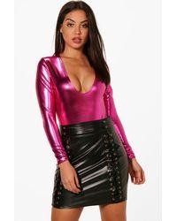 Boohoo - Pink Kaylee Extreme Plunge Long Sleeve Bodysuit - Lyst