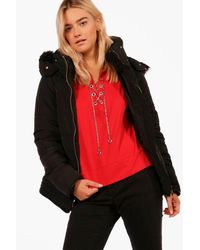 Boohoo - Black Gabriella Fitted Back Padded With Faux Fur Hood - Lyst