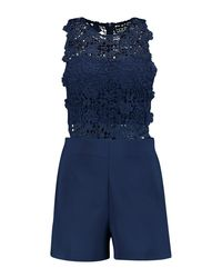 3c68c57cb7 Lyst - Boohoo Crochet Playsuit in Blue