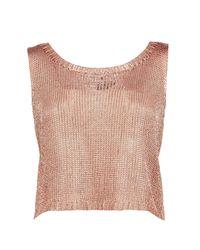 Boohoo - Pink Charlotte Metallic Knit Vest - Lyst