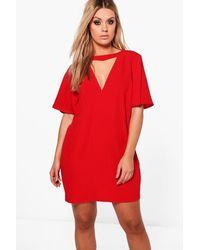 Lyst - Boohoo Plus Choker Detail Frill Sleeve Shift Dress in Red 6fc56f19a