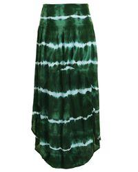 Boohoo - Green Tie Dye Dipped Hem Beach Maxi Skirt - Lyst