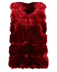Boohoo - Red Faux Fur Gilet - Lyst