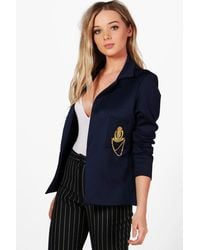 Boohoo | Blue Olivia Badge Tailored Blazer | Lyst