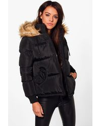 Boohoo | Black Libby Crop Padded Jacket With Faux Fur Hood | Lyst