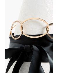 Boohoo - Metallic Helena Ring Statement Ribbon Tie Choker - Lyst
