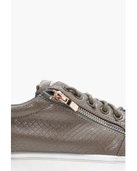 Boohoo - Gray Faux Skin Zip Detail Trainers for Men - Lyst