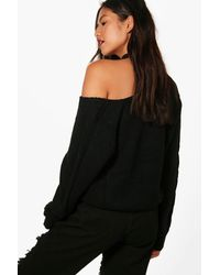 Boohoo - Black Oversized Cable Sleeve V Neck Jumper - Lyst