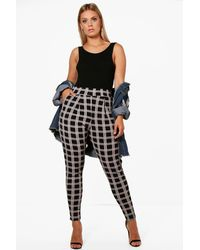 Boohoo Black Plus Tartan Print Pleat Front Trouser