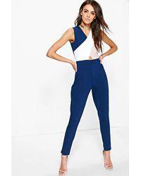 66a76361467 Lyst - Boohoo Colour Block Skinny Leg Jumpsuit in Blue