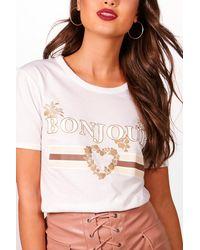 Boohoo - Black Bonjour Slogan T-shirt - Lyst